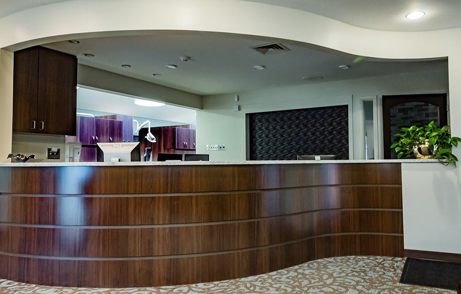 Reception desk in the dental office of Rina Singh, DDS